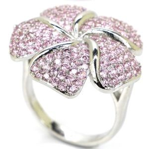 Sterling Silver925 Pink Kunzite Flower Shaped Ring